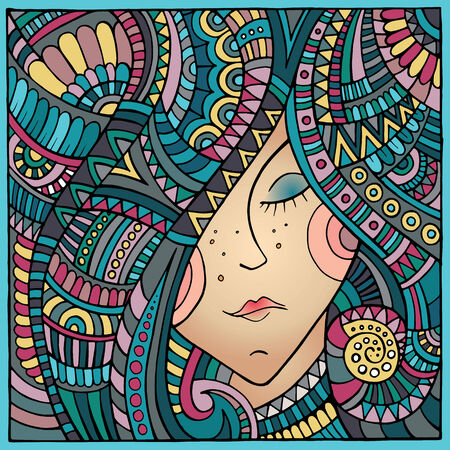 Vector abstract decorative winter girl portrait illustration illustration