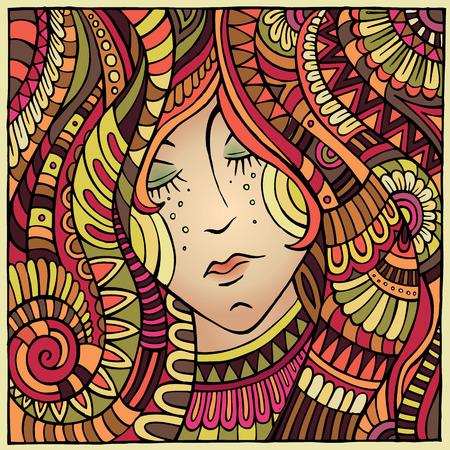 Vector abstract decorative autumn girl portrait illustration illustration