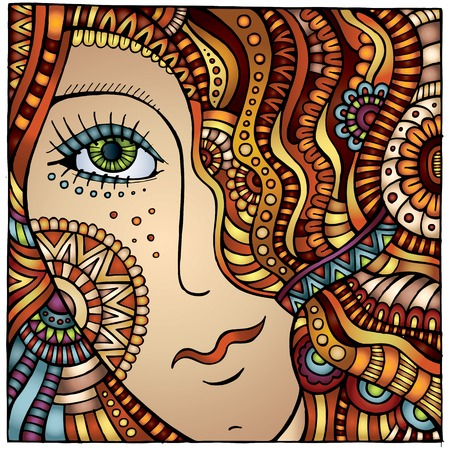 Vector decorative cartoon red hair girl illustration illustration