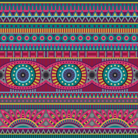 indian pattern: Abstract vector tribal ethnic background seamless pattern