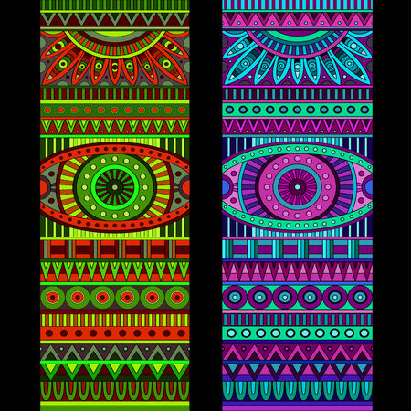 Abstract vector tribal ethnic background set. Three variants of color photo