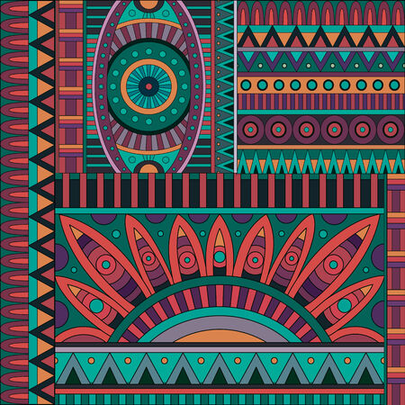 Abstract geometric vector tribal ethnic background pattern photo