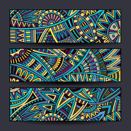 batik pattern: Abstract vector hand drawn vintage ethnic banners