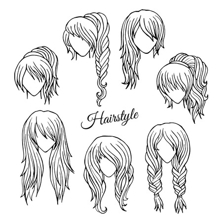 Abstract Hair styles sketch  hand drawn vector set photo