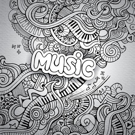 音楽の大ざっぱなノートの落書き。ベクターの手描きイラスト