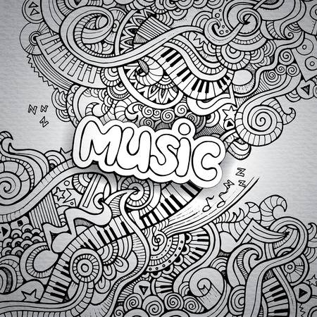 grunge music background: M�sica Sketchy Doodles Notebook. Dibujado a mano ilustraci�n vectorial