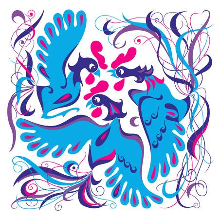Group of vector blue birds fantasy illustration illustration
