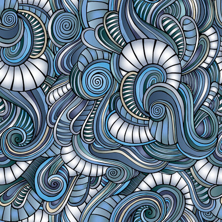 seamless blue winter abstract pattern with waves and curls photo