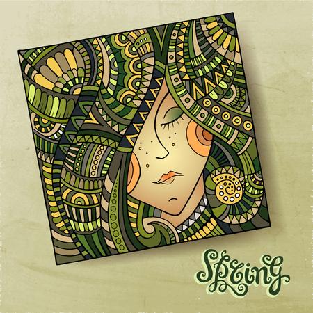 Vector decorative spring beautiful girl portrait vector illustration illustration