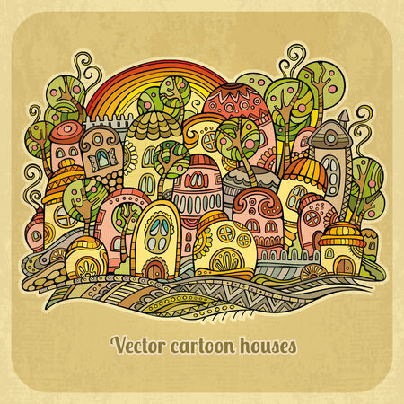 Cartoon fairy tale spring houses. Vector illustration illustration