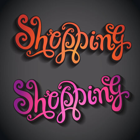 Shopping hand lettering - handmade calligraphy, vector illustration illustration