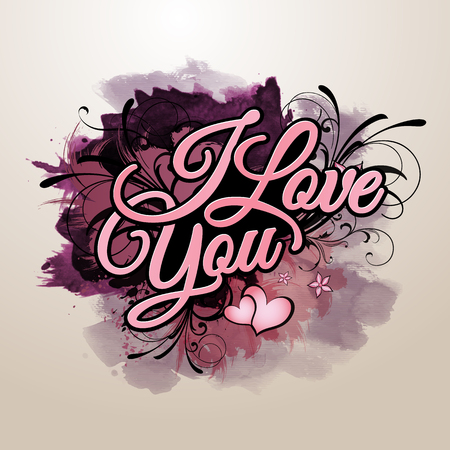 I love you grunge vector paint inscription photo