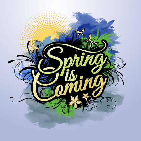 gouache: Spring is coming grunge vector paint inscription Stock Photo