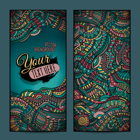 Abstract vector decorative ethnic ornamental backgrounds. Series of image Template frame design for card. photo
