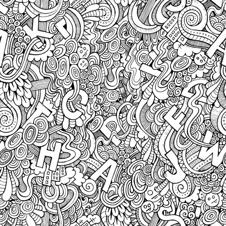 Letters abstract decorative doodles seamless pattern. Hand-Drawn Vector Illustration illustration