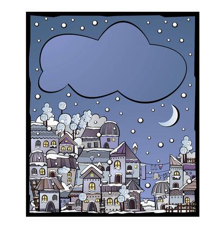 tier: cartoon winter fairytale town greeting card