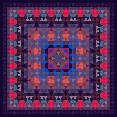 silk scarf: Triangle geometric vector abstract square pattern, silk scarf design, fashion textile ornament