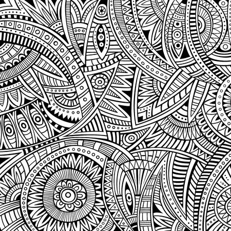 抽象的なベクトルの部族民族的背景のシームレスなパターン
