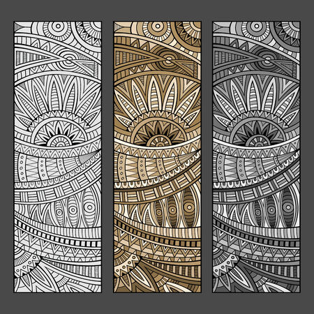 Abstract vector hand drawn vintage ethnic pattern card set. Vector