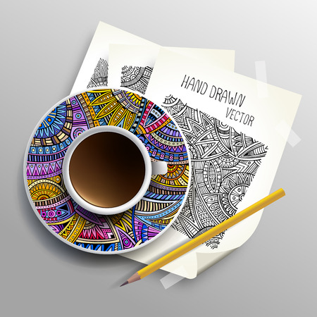 coffee cup vector: Coffee cup on sketches concept idea, Vector illustration modern template design