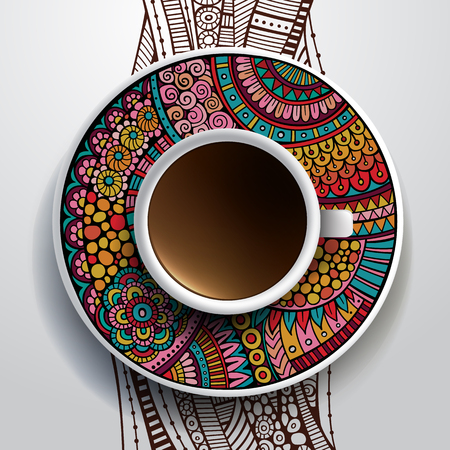 Vector illustration with a Cup of coffee and hand drawn ornament on a saucer and background Vector