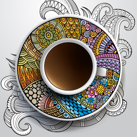 bezel: Vector illustration with a Cup of coffee and hand drawn ornament on a saucer and background Illustration