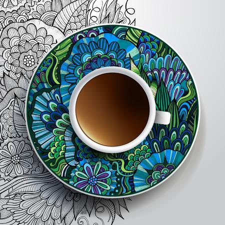커피와 손의 컵 벡터 그림은 접시와 배경에 꽃 장식을 그려 일러스트