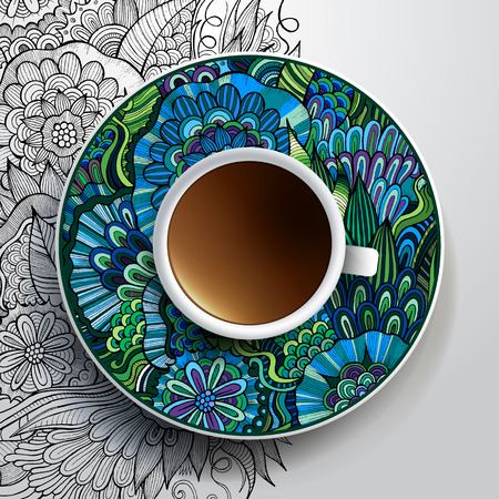 Vector illustration with a Cup of coffee and hand drawn floral ornament on a saucer and background