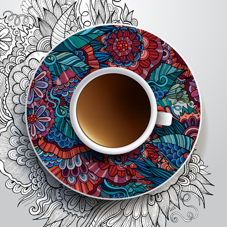 bezel: Vector illustration with a Cup of coffee and hand drawn floral ornament on a saucer and background