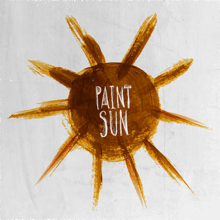 Watercolor grunge paint watercolor abstract vector hand painted sun Vector