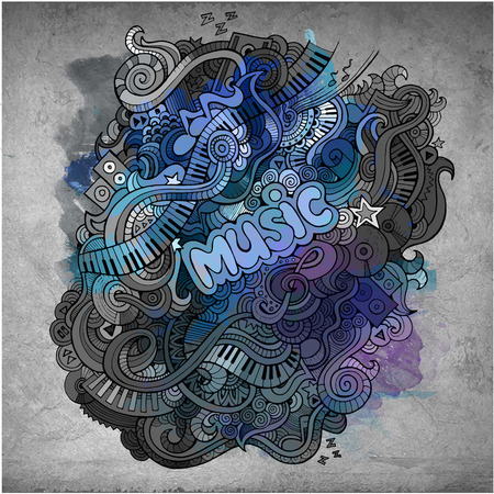 abstract melody: Vector hand drawn doodles musical art paint background