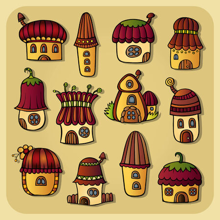 Set of color abstract fairy tale cartoon vector houses Vector