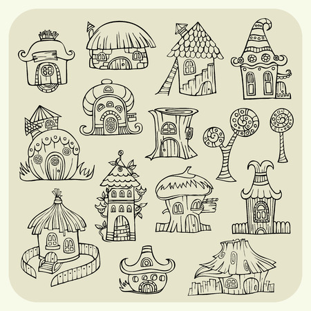 Set of sketch cartoon abstract hand drawn vector houses Vector