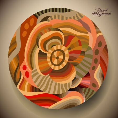 vector illustration of abstract flower with a round label Vector