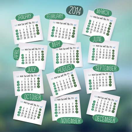 Calendar design, English, Sunday start. Blurred background. Vector illustration Vector