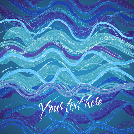 Abstract vector decorative hand drawn waves background Vector