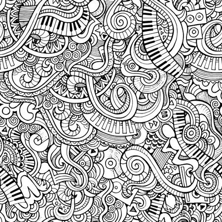 音楽の大ざっぱなノートの落書き。ベクターの手描きイラスト。シームレス パターン