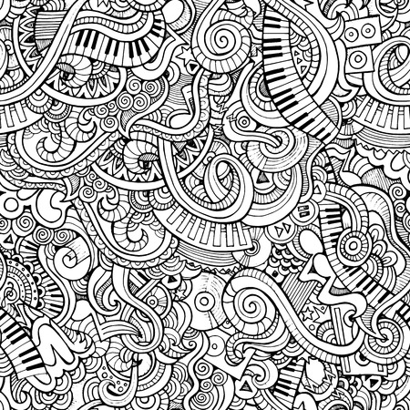 Music Sketchy Notebook Doodles. Hand-Drawn Vector Illustration. Seamless pattern Illusztráció