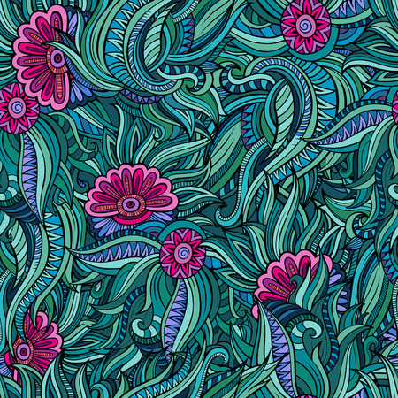 batik: Vector seamless abstract flowers pattern. Endless background.