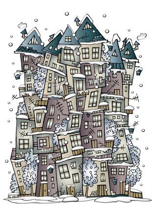 winter vector: Illustration of winter fantasy vector fairytale drawing town Illustration