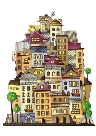 Illustration of fantasy vector fairy-tale drawing town 向量圖像