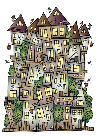 dream land: Illustration of fantasy vector fairy-tale drawing town Illustration