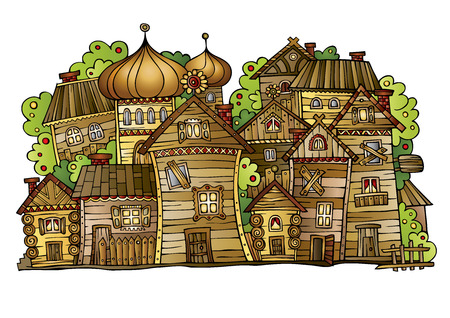 Illustration of fantasy vector fairy-tale drawing town. Russian old wooden village Vector
