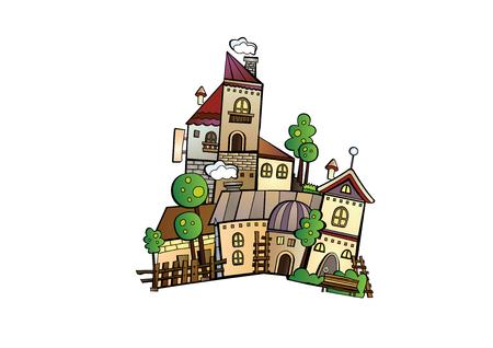 Abstract hand drawn cartoon vector construction town Illustration