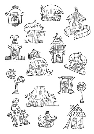 Cartoon vector fairy tale drawing houses. Series separate lodge. Vector