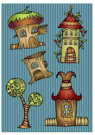 wooden doors: Set of abstract cartoon fairy tale vector houses Illustration