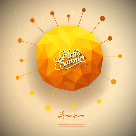 sun illustration: Vector abstract geometric triangle summer sun illustration