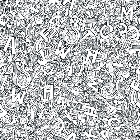 Letters abstracte decoratieve doodles naadloos patroon. Hand-Drawn Vector Illustration