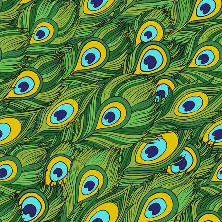 漫画の装飾的な民族のベクトルの羽のシームレスなパターン  イラスト・ベクター素材