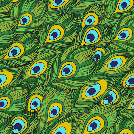 peacock pattern: Cartoon decorative ethnic vector Feathers seamless pattern